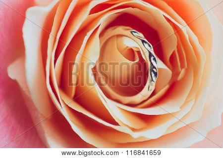 Close up of engagement ring on rose petals