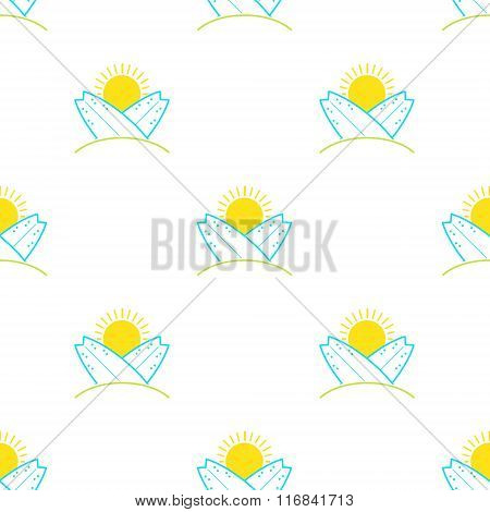 Vector surfboards and sun seamless pattern in modern flat design. Sunny surfing and beach background