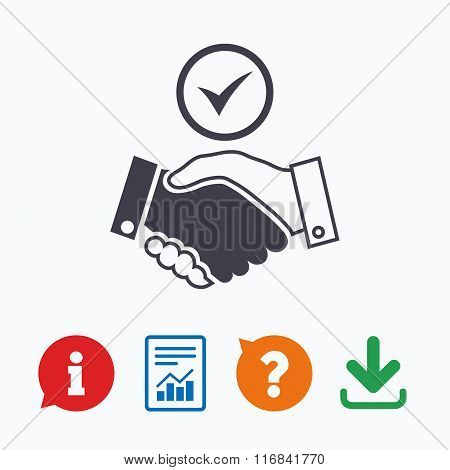 Tick handshake sign icon. Successful business.