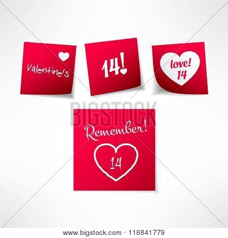 Set of vector valentines day note stickers with message. Paper reminder design element