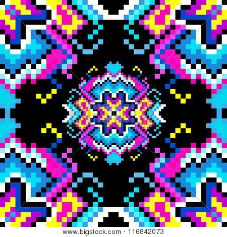 Psychedelic Pixels On A Black Background Beautiful Pattern