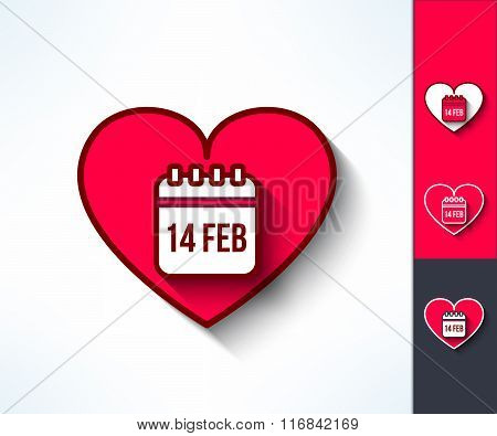 Set of vector valentines calendar reminder symbols made in modern flat design. Love and romance