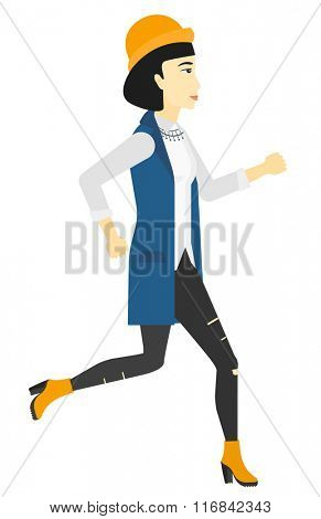 Happy woman jogging.