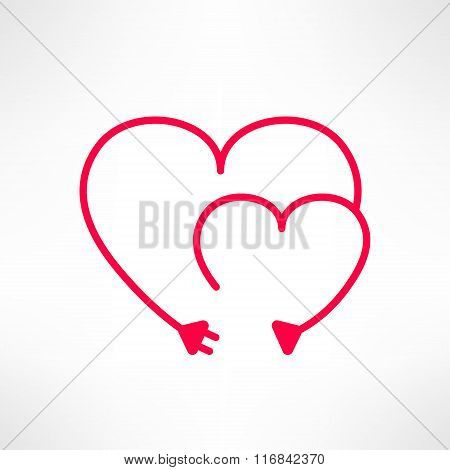 Vector two hearts made from electric line with plug. Love connection concept