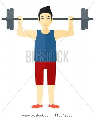 Man lifting barbell.