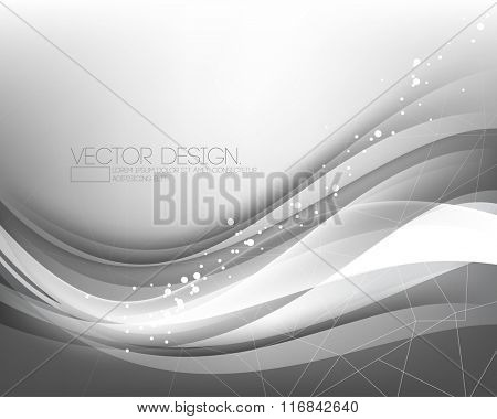 elegant overlapping wave chrome effect with polygon lines