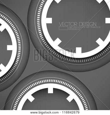 three technology wheel on gray background