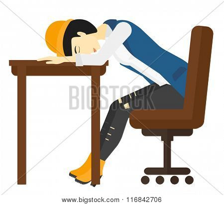 Woman sleeping on table.