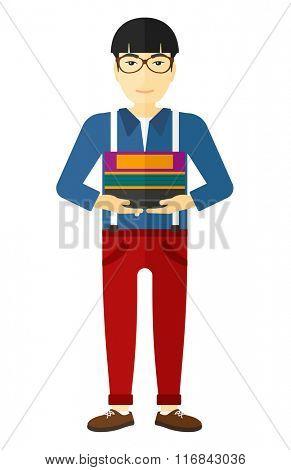 Man holding folders.