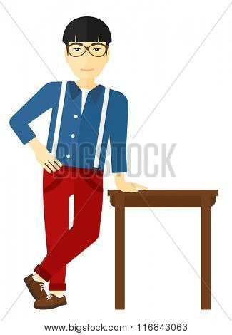 Man leaning on table.