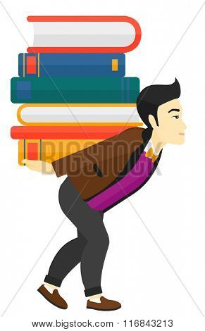 Man with pile of books.