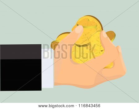 Greedy Hand Clutching Gold Coins (Vector)