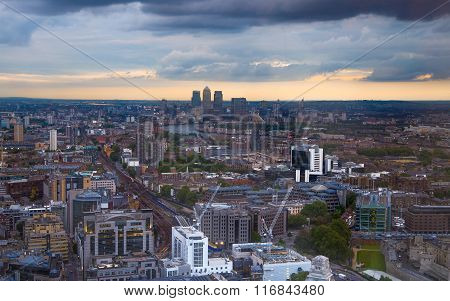 London at sunset, City aerial view