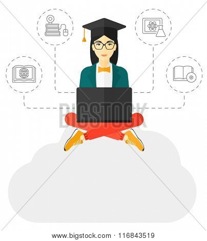Graduate sitting on cloud.