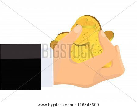 Greedy Hand Clutching Gold Coins Isolated on White Background