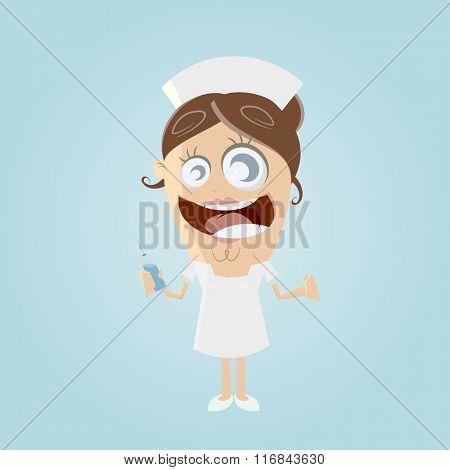 funny cartoon nurse with syringe