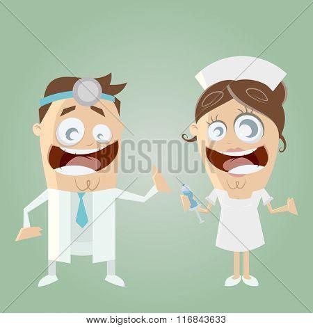 funny cartoon doctor and nurse