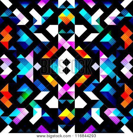 Pixels Colored Geometric Seamless Pattern Vector Illustration
