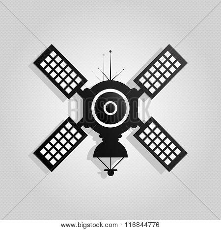 Satellite Icon Button Vector Illustration