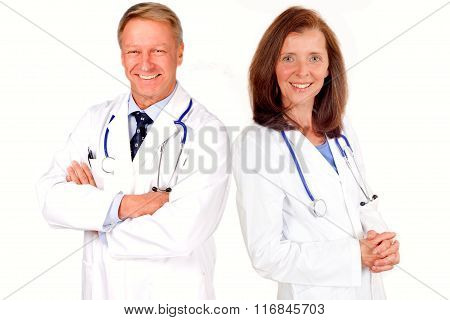 Doctors with stethoscope isolated on white background