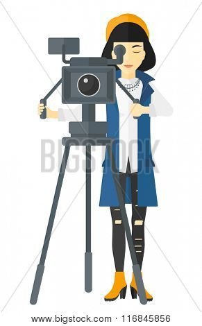 Camerawoman with movie camera.