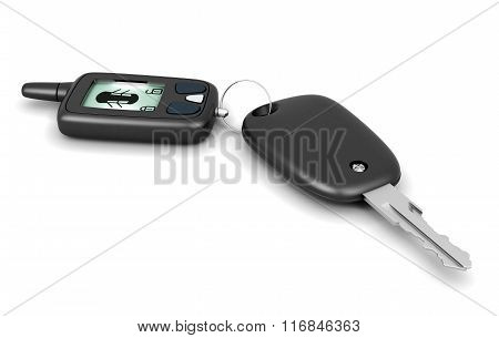 Remote alarm controller and key isolated on white background. 3d