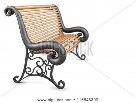 Bench isolated on white background. 3d rendering