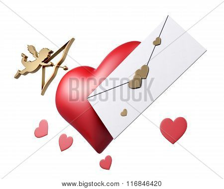 Cupid, heart and letter Valentine card on white background. 3d