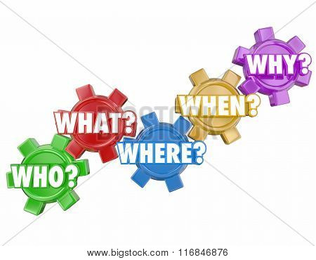 Who What Where Why When words on 3d gears to illustrate basic questions and the search for answers or clues to a problem or mystery