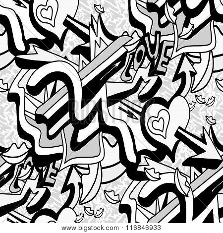 Monochrome Graffiti Lines And Heart On A White Background Seamless Pattern Vector Illustration