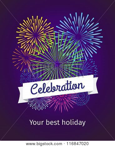 Fireworks celebration card template