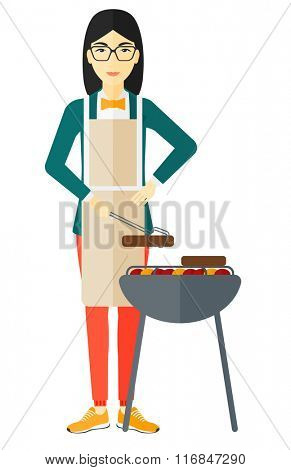 Woman preparing barbecue.