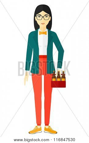Woman with pack of beer.