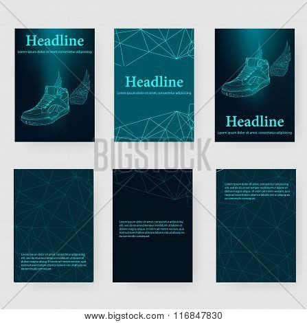 Abstract Creative concept vector background of the sneakers. Polygonal design style letterhead