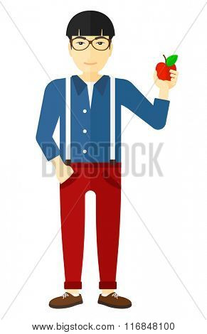 Man holding apple.