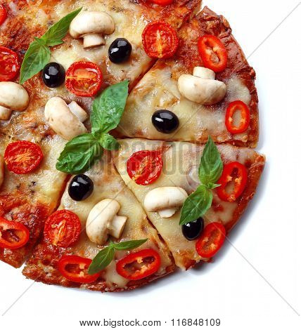 Delicious sliced pizza with vegetables on white background, close up