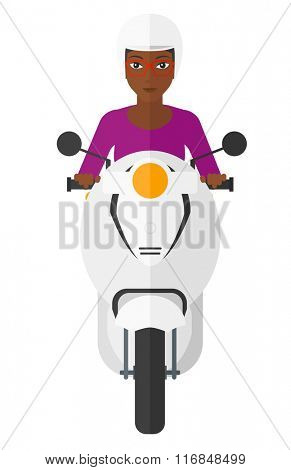Woman riding scooter.