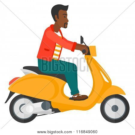 Man riding scooter.