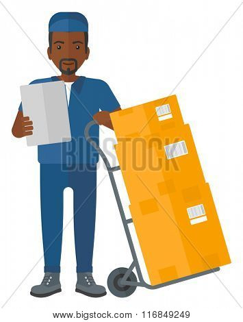 Man delivering boxes.