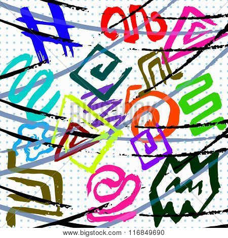 Graffiti Abstract Geometrical Objects On A White Background