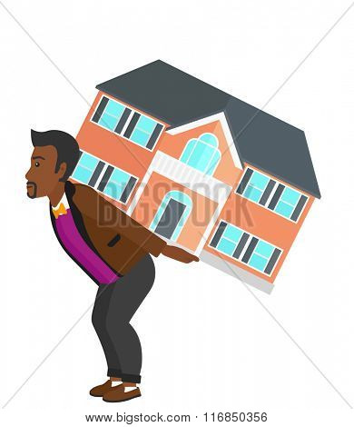 Man carrying house.