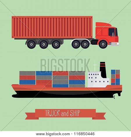 Illustration Of A Flat Truck And Ship
