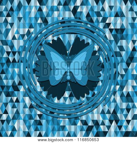 Blue Butterfly On Triangles Background