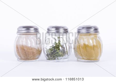the jars with different spices