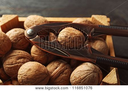 A box of walnuts and nutcracker on wooden table, close-up