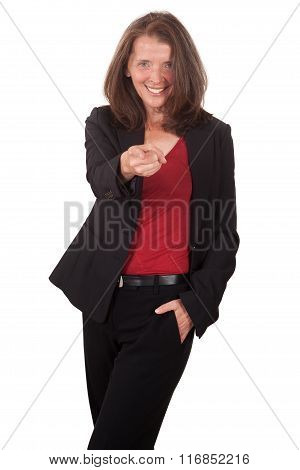 Portrait of smiling businesswoman isolated on white