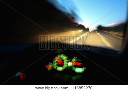 Driving Car Dangerously At Night Blur