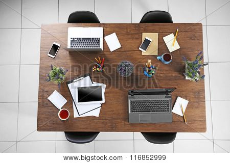 Session concept. Workplace top view.