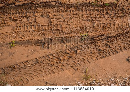 Texture Of Wet Brown Mud With Car Tyre Tracks And Shoe Footprint