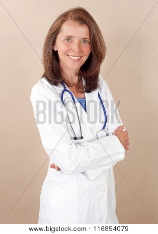 Smiling mid age female doctor